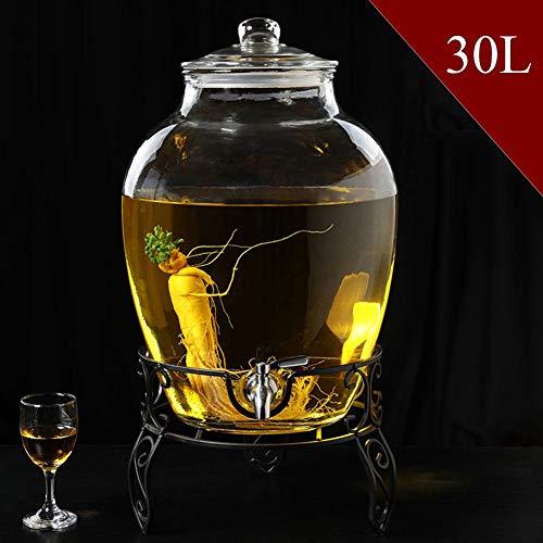 Drankdispenser met deksel en houder, entertainment voor de keuken glas voor water/sap/wijn/comboeka en koude dranken, 20/30 l, helder Steel base 30 liter.