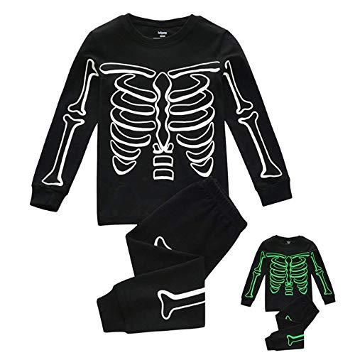 FeiliandaJJ Jungen Schlafanzug Glow in Dunkel Halloween Skelett Langarm Pyjama Set Jungen Herbst Winter Warm Zweiteiliger Schlafanzüge Nachtwäsche Kleidungs Set (Schwarz, 140 (6-7 Jahre))