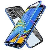 Funda para Samsung Galaxy S21 5G, Adsorción Magnética Cubierta Vidrio Templado Frontal y Posterior Flip Case Marco Metal Bumper Funda Anti Choque Protección 360 Grados Carcasa, Azul