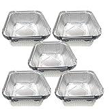 EUROXANTY Vassoio in alluminio | con coperchio | Vassoi per piatti | Contenitori usa e getta | Servizio alimentare | Resistenza al calore | 5 porzioni | 20 pezzi