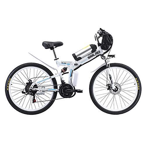 MSM 500w 48v 20AH E-Bike,Falten Lithium-ionenbatterie Elektrofahrrad Für Erwachsene Outdoor Radfahren,26 Zoll Rad 21 Gang Pedelec Weiß 500w 48v 20ah