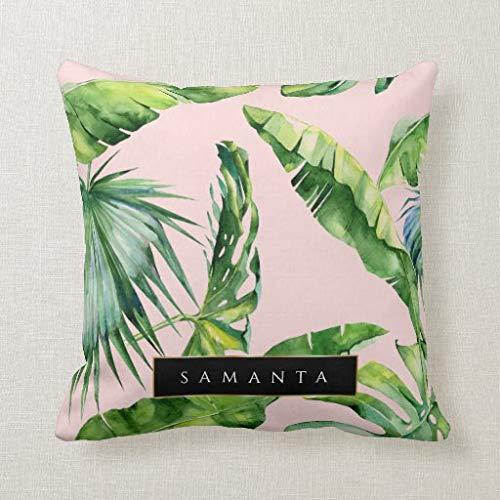 Tian huan88 Tropical Summer Green Leaf met gepersonaliseerde naam canvas decoratieve vierkante Throw Kussensloop Cushion Case voor bank Bedroom Car 18 x 18 inch 45 x 45 cm
