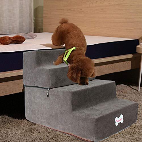 delibett Hundetreppe Katzentreppe Haustiertreppe mit 4 Stufen, 38 x 52 x 40 cm, Einstiegshilfe für kleinere Hunde Katze