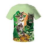 Hombre 3D Graphic Print Camisetas Dos Gatitos y Perros Camiseta Hombres 3DT Camisa Manga Corta Cuello Redondo impresión Digital Casual Manga Corta-Color_XL