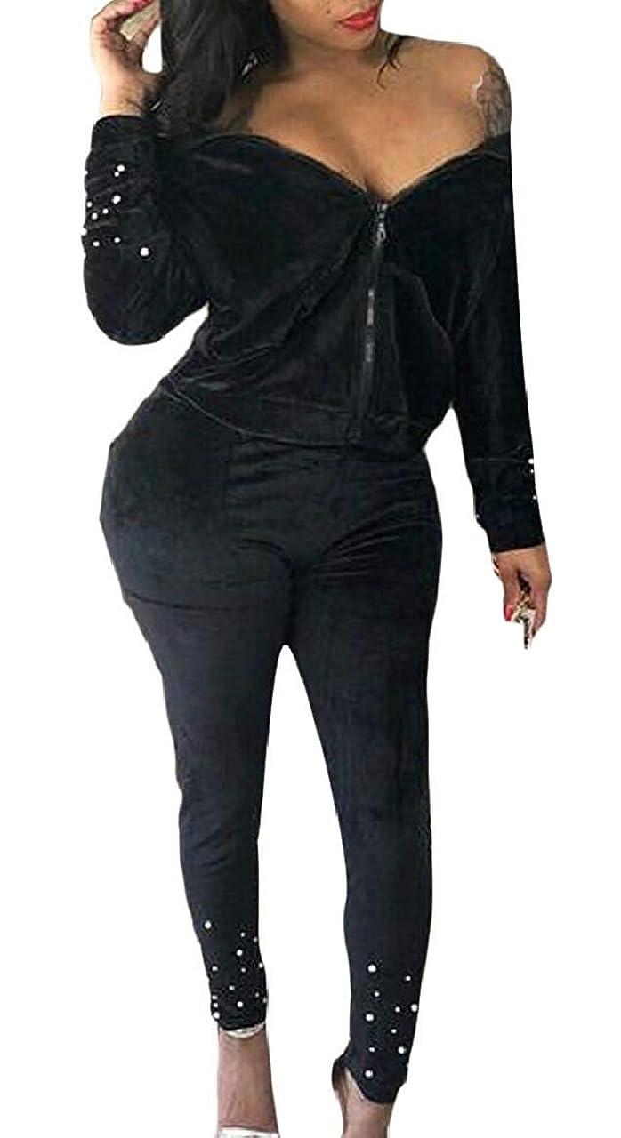 密接にぐるぐる高い女性2ピース カジュアルパーカージャケット スウェットスーツ ベルベット トラックスーツセット Black US Large