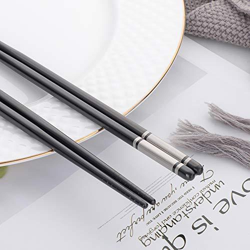 dongbo箸ステンレス箸10膳セット金属食器滑り止め中空構造キャンプバーベキューブラック