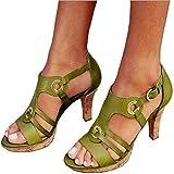 Mujer Plataforma Alta Tacón Aguja Sandalias Sexy y Encantadora Cuero PU Peep Toe Tacón Alto Fiesta Cóctel Club Zapatos Baile, Vestido, Fiesta, Discoteca, Boda,Verde,39