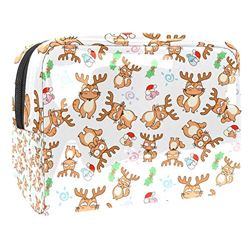 Cats in Reindeer Costume Makeup Bag Cosmetic Organizer Multifuncition Travel Makeup Bags Waterproof Toiletry Bagwith Zipper for Women