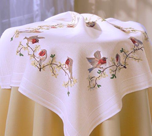 Kamaca Stickpackung Zauberhafte ROTKEHLCHEN Stielstich Plattstich Nadelmalerei vorgezeichnet aus 100% Baumwolle Mitteldecke 80 x 80 zum Selbersticken (80 x 80 cm)