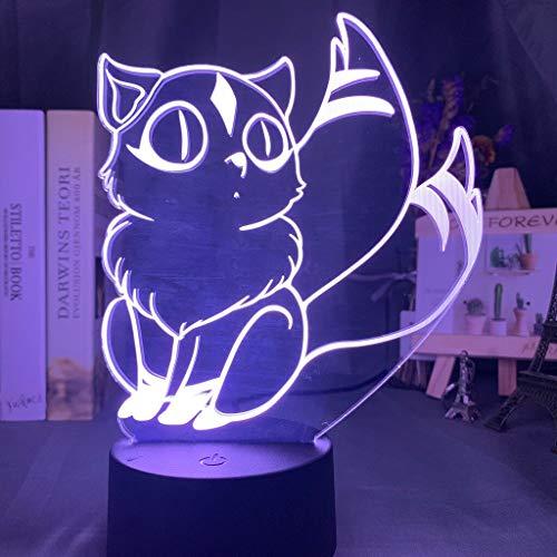 Kirara Figura Anime Inuyasha 3D LED Luz de noche USB Lámpara de mesa Niños regalo de cumpleaños Decoración del hogar junto a la cama