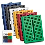 Chanzon 6 pcs Mini Breadboard with 170 Tie Points SYB-170 Solderless Prototype Kit (6 Different Color) PCB Bread Board Plus Adhesive Back for Small DIY Kits Arduino Raspberry rasp Pi Proto Project