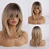 Kellynee 20' Blonde Wig with Bangs Dark Hair Roots Long Straight Synthetic Wigs for Women (2 Wig Caps Included)