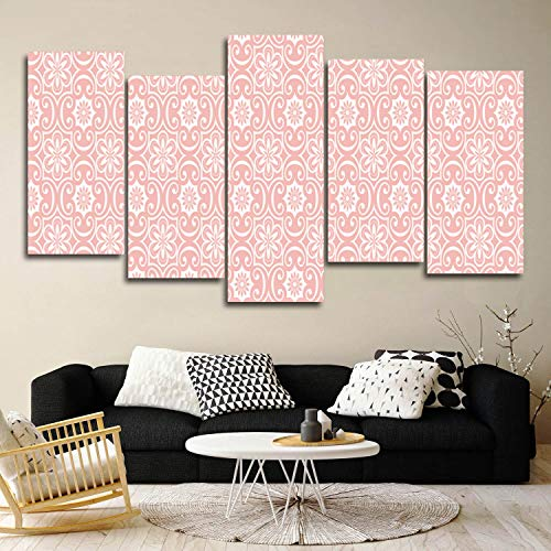 Giclee Canvas Wall Art Gallery Wrap Prints Painting Baroque Floral Pattern Monochrome Victorian Antique Ornaments Pink Canvas Pictures Artwork for Bedroom Decoration, Framed Ready to Hang 5 Pieces