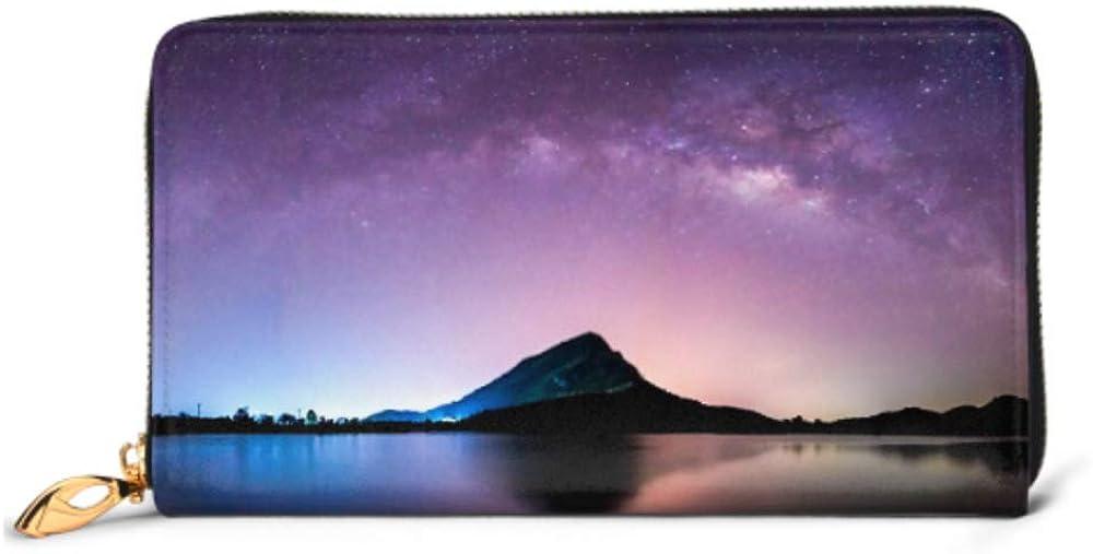 Fashion Handbag Zipper Wallet Night Landscape Mountain Milkyway Galaxy Background Phone Clutch Purse Evening Clutch Blocking Leather Wallet Multi C