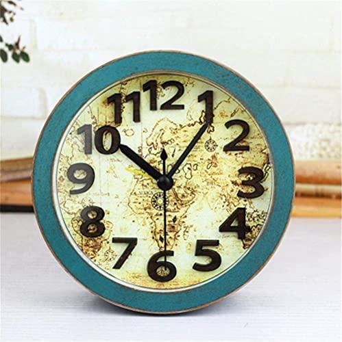 MingXinJia Relojes de Cabecera para el Hogar Reloj Despertador Vintage con Tarjeta Digital Estéreo 3D, Reloj Despertador Marino con Tarjeta Vintage de Estilo Europeo, Reloj de Mesa con Mapa Del Mundo