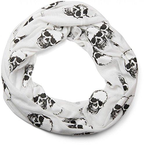 styleBREAKER Loop Schlauchschal mit aufgesetztem Totenkopf Muster, Skull Applikation, Unisex 01018081, Farbe:Weiß
