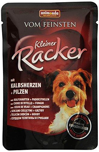 animonda Vom Feinsten Adult Hundefutter, Nassfutter für ausgewachsene Hunde, Kleiner Racker mit Kalbsherzen und Pilzen , 16 x 85 g
