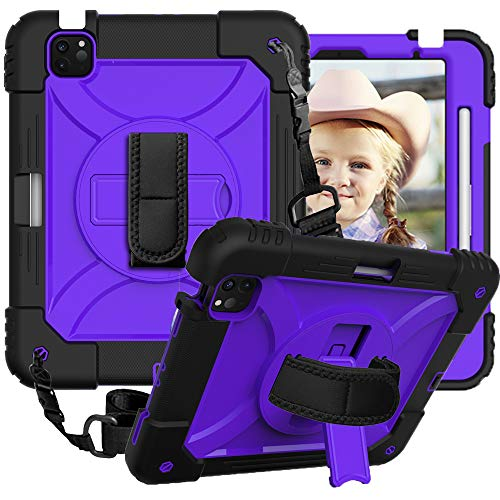CLARKCAS Case for iPad Air 4th Generation 10.9 inch 2020, iPad Pro 11 inch 2020/2018 Cases Shockproof Heavy Duty Protective Rugged Cover with 360 Rotating Kickstand for iPad Air 4 10.9,Black + Purple
