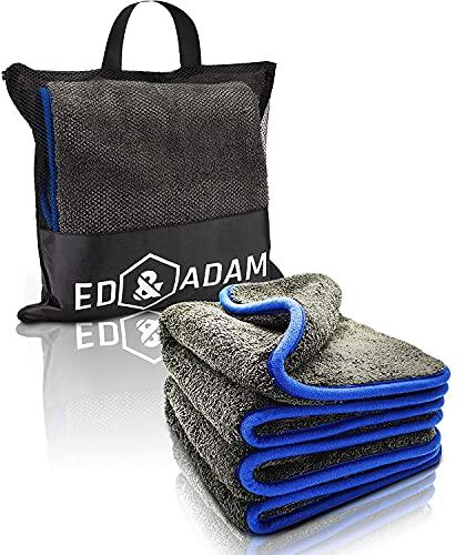 ED & ADAM® 2er Set Mikrofasertücher mit 1200 GSM, inkl. Tasche & E-Book, Ultra weiche fusselfreie Poliertücher, Microfasertuch Autopflege, Mikrofasertücher Auto und Motorrad 42x48cm