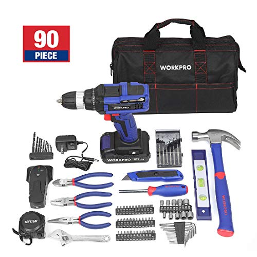 Drill WORKPRO 90-Piece 20-Volt Lithium-Ion Cordless Project Kit