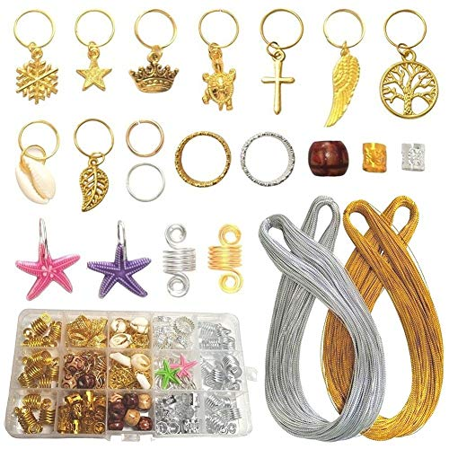 210PCS Hair Jewelry Women Hair Braiding Accessories Gold Silver Hair Ring Clips Cuffs Coils Kits for Locs Twists with 2 x 100m Metallic Cords