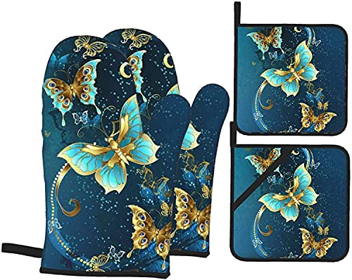 Shepherd Dog Oven Mitts and Pot Holders 4pcs Set, Kitchen Oven Gloves of Heat Resistant, Microwave Gloves for Baking Cooking Grilling BBQ-Black-One Size