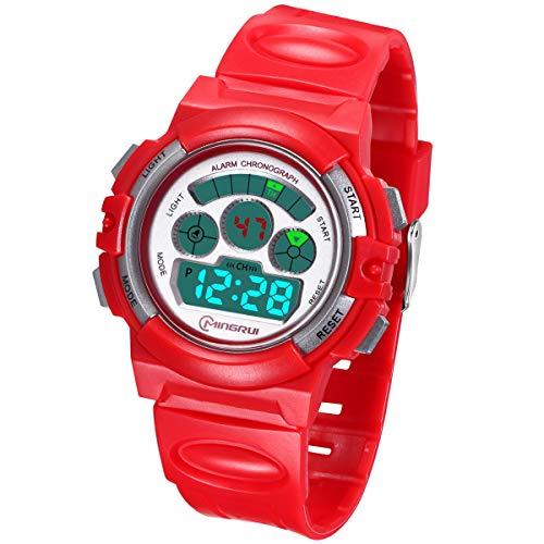 Kinderuhr Digitale für Jungen Mädchen,Wasserdicht Kinder Armbanduhr Sport LED Multifunktions mit Alarm/12/24H/Stoppuhr Weicher Gurt Armbanduhr für Jungen, Mädchen Alter 4-12 als Geschenk(Rot)