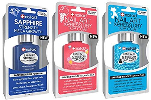 NAIL-AID Sapphire Base Coat + Nail Art Xpress Dry Top Coat, Clear, 3 Count