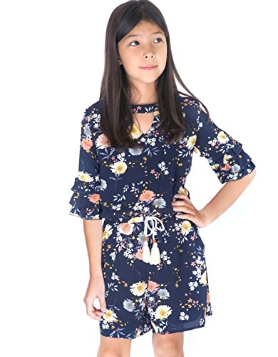 Smukke, Big Girls Tween Gorgeous Floral Printed Tier Ruffles 3/4 Sleeves Romper with Pockets (Many Options), 7-16 (12, Navy-Multicolor)