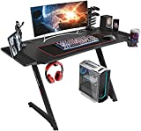 43 Inches Carbon Fiber PC Gaming Table Gaming Desk for Home Office with Cup Holder and Headphone Hook (Jet Black)