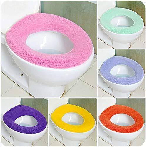 Toilet Mat Doux et Chaud Toilettes Couverture du Couvercle du siège Tapis de Bain closestool Protector Salle de Bain Accessoires Set Housse de siège de Toilette Mat 2Pcs (Color : Random Color 1PC)