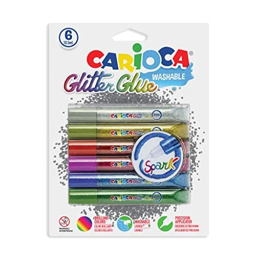 Carioca 42110 - Glitter Glue Blister Confezione 10.5 ml, 6 Colori Classici, Colla Colorata per Decorazioni