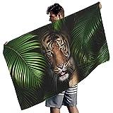 MINNOMO Toalla de baño decorativa con estampado tropical de tigre, color blanco, 150 x 75 cm