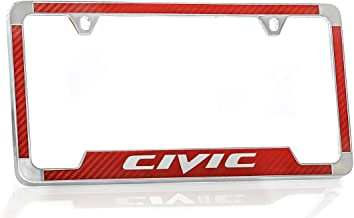 Honda Civic Simulated Carbon Fiber License Plate Frame Holder (Red)