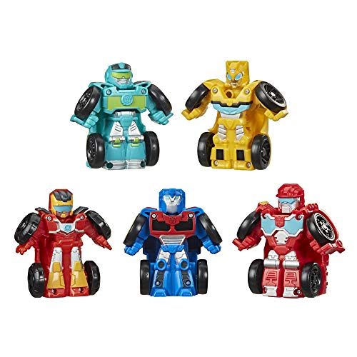 Transformers Playskool Heroes Rescue Bots Academy Mini Bot Racers Converting Robot Toy 5-Pack, 2-Inch Collectible Toy Cars (Amazon Exclusive)