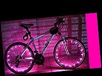 YYGIFT自転車ホイールライト 自転車タイヤ ライト 防水 LEDホイールライト 20LEDフラッシュライト サイクリング 夜道安全 事故防止 学生 通勤 通学 (ピンク)