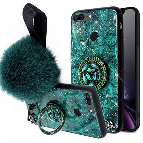 Kompatibel mit Huawei Honor 9 Lite Hülle,Handyhülle Huawei Honor 9 Lite Case Glänzend Glitzer Bling Marmor TPU Silikon Hülle Schutzhülle Stoßfest Silikon Bumper Case Cover & Diamant Ring Ständer,Grün