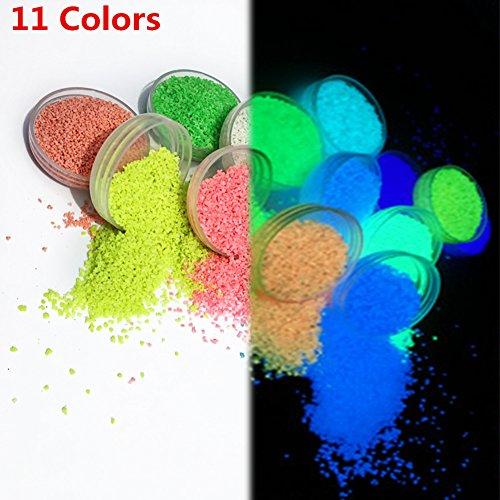 DIY Super brillante luminoso pigmento en polvo, 11colores opcional Multicolor fluorescente alta calidad partículas polvo decoración de arena