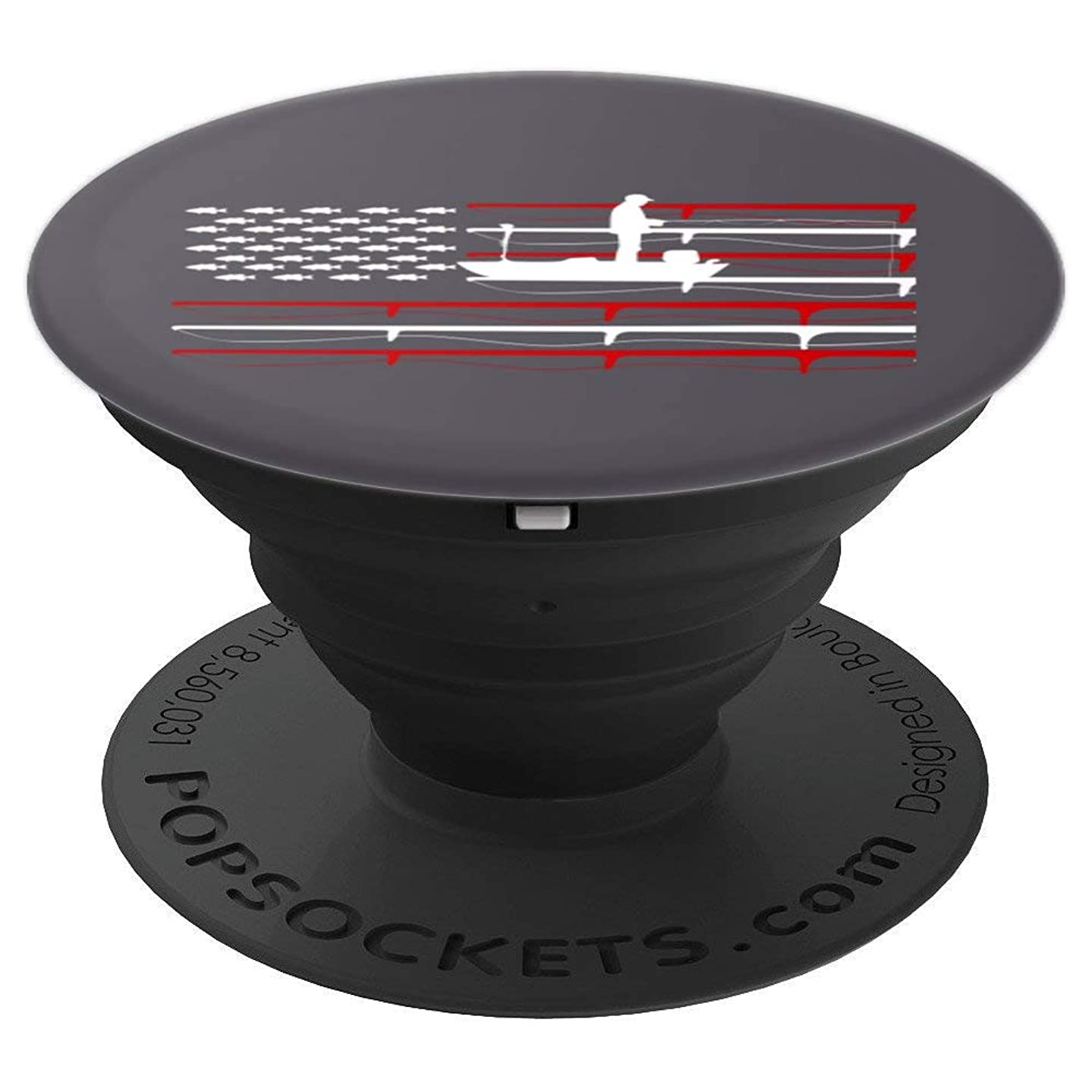 FISHING American Flag Design | USA Fishersman Boat Art - PopSockets Grip and Stand for Phones and Tablets