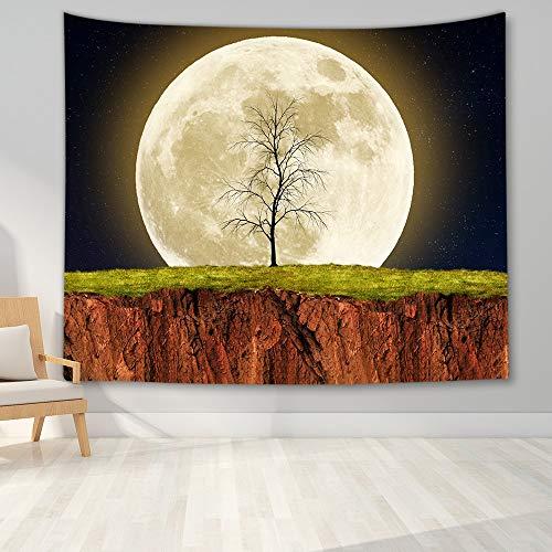 KHKJ Tapiz de Paisaje Nocturno decoración de Dormitorio Tapiz de árbol Forestal Manta Colgante de Pared para decoración de Dormitorio decoración de Fiesta de Dormitorio A15 95x73cm