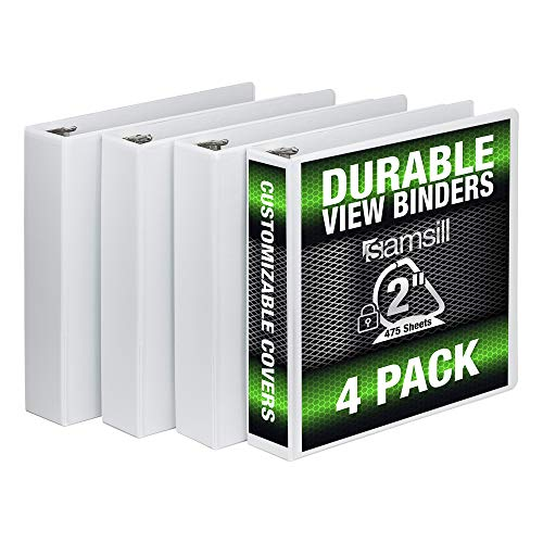 Samsill 3 Ring Durable View Binders - 4 Pack, 2 Inch Locking D-Ring, Non-Stick Customizable Clear View Cover