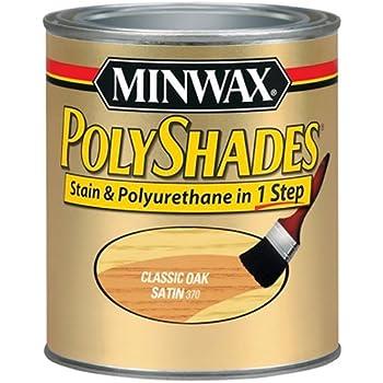 Minwax 61370444 PolyShades - Stain & Polyurethane in 1 Step, quart, Classic Oak, Satin