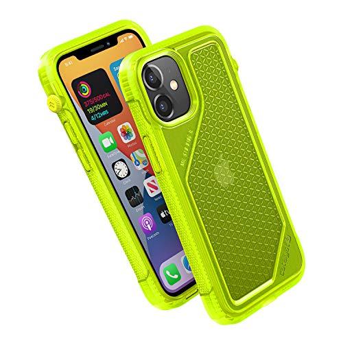 Vibe Series Funda diseñada para iPhone 12 Mini, interruptor de silencio giratorio patentado, compatible con MagSafe, a prueba de caídas de 3 m, sistema de fijación Crux Accesorios, amarillo neón