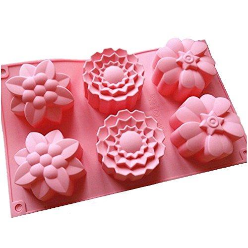 6 moldes deflores de silicona para magdalenas