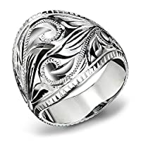 ハワイアンジュエリー リング 刻印無料 誕生石入れ可 シルバー925 スクロール ボリューミー 指輪 日本サイズ16号 SR701