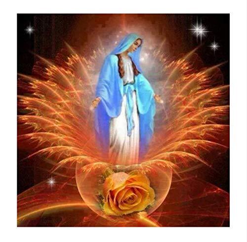 Cuadro de mosaico de cristal pintura de diamante religioso Virgen María pegar punto de cruz bordado DIY 5D pintura diamante, 30x40 cm