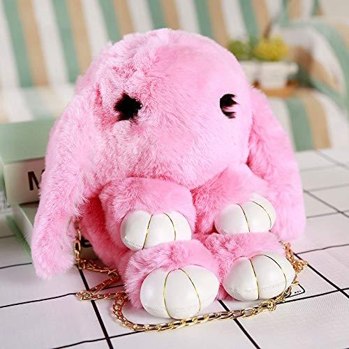 Boufery Fashion Fur Cape Hare Wool Chains Handbag, Women's Casual Plush Dead Rabbit Messenger Bag, GirlFriend Gift 35cm (Pink)