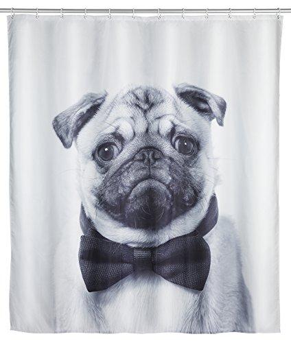 WENKO Duschvorhang Pugy, Textil-Duschvorhang fürs Badezimmer, inkl. Ringen zur Befestigung an der Duschstange, waschbar, 100 prozent Polyester, 180 x 200 cm, mehrfarbig