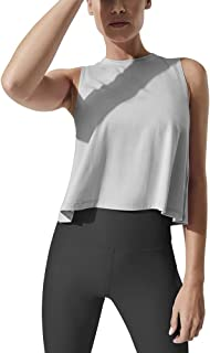 Mippo Women's Crop Tops High Neck Flowy Muscle Tank Sleeveless Workout Shirts