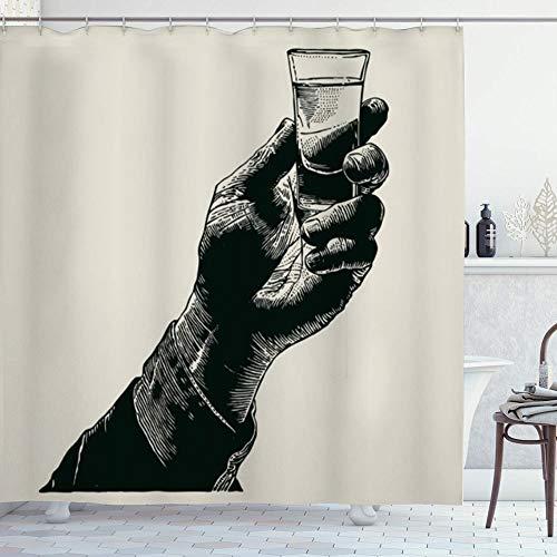 ZORMIEY Duschvorhang,Logo Glas Hand halten Schuss Alkohol trinken Toast Essen Vintage Whisky Tequila Bar Whisky Wodka,Vorhang Langhaltig Hochwertig Bad Vorhang Wasserdichtes Design,mit Haken 180x180cm